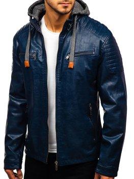 Чоловіча шкіряна куртка темно-синя Bolf ex708