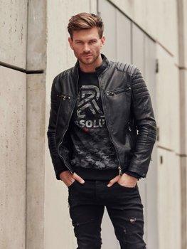 Чоловіча шкіряна куртка чорна Bolf 1113