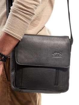 Чоловіча шкіряна сумка з екошкіри чорна 3013