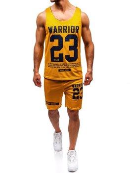 Чоловічий комплект футболка + шорти Bolf жовтий 100778
