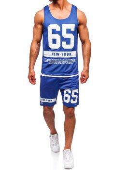 Чоловічий комплект футболка + шорти Bolf синій 100777