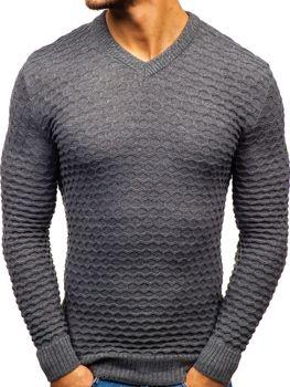 Чоловічий светр з v-подібним вирізом темно-сірий Bolf6005