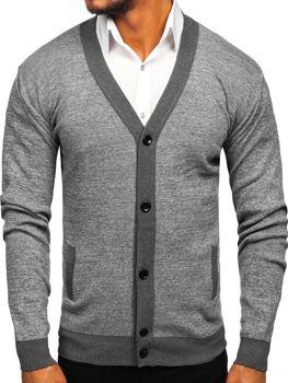 Чоловічий светр на застібці сірий Bolf 8122