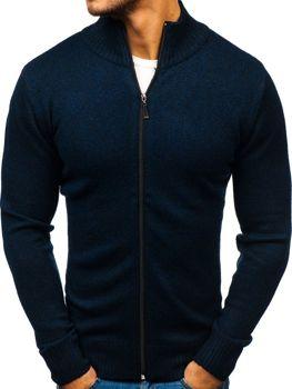 Чоловічий светр на застібці темно-синій Bolf H1808