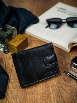 Чоловічий шкіряний гаманець чорний 4590