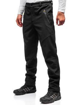 Чоловічі спортивні штани софтшелл чорно-жовті Bolf 5454