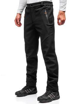 Чоловічі спортивні штани софтшелл чорно-помаранчеві Bolf 5454