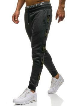 Чоловічі трикотажні штани джогери графітово-зелені Bolf 0921