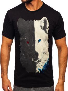 Чорна бавовняна чоловіча футболка з принтом Bolf 14800