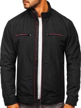 Чорна демісезонна чоловіча елегантна куртка Bolf 6362
