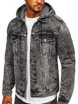 Чорна джинсова куртка з капюшоном Bolf RB9860-1