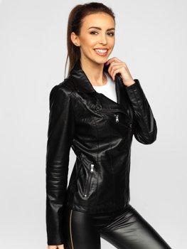 Чорна жіноча шкіряна куртка Bolf 621