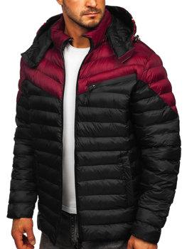 Чорна стьобана чоловіча демісезонна куртка Bolf M13012