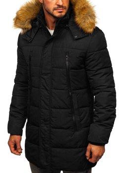 Чорна чоловіча зимова куртка парка Аляска Bolf JK333