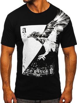 Чорна чоловіча футболка з принтом Bolf 142171