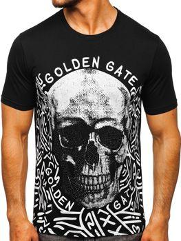 Чорна чоловіча футболка з принтом Bolf KS7332