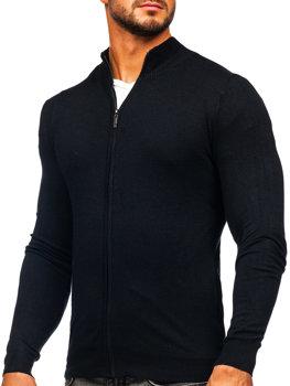 Чорний чоловічий светр на блискавці Bolf YY07