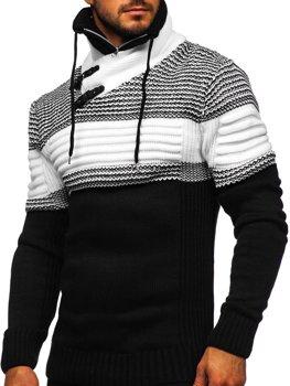 Чорний чоловічий светр товстої в'язки з коміром-стійкою Bolf 2002