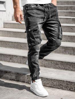 Чорні чоловічі джинсові джоггери карго Bolf K10005
