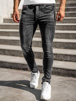 Чорні чоловічі джинсові штани regular fit з поясом Bolf 60022W0