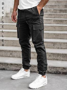Чорні чоловічі штани джоггери-карго Bolf 701