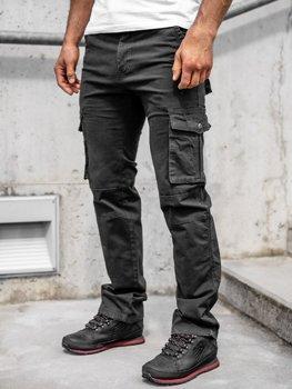 Чорні чоловічі штани-карго з поясом Bolf 8813