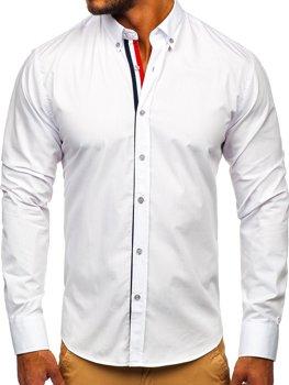 Элегантная мужская рубашка с длинным рукавом белая Bolf 3713