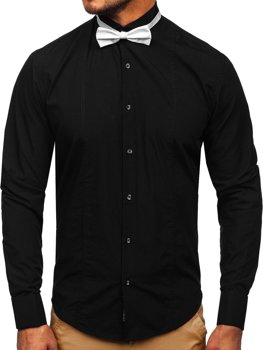 Елегантна чоловіча сорочка з довгим рукавом, чорна Bolf 4702-А краватка-метелик+запонки
