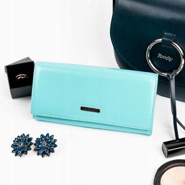 Жіночий шкіряний гаманець бірюзовий 859