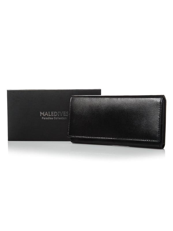 Жіночий шкіряний гаманець чорний 2688