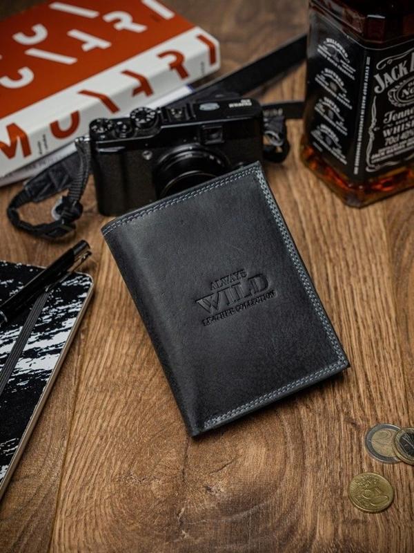 Кошелек мужской кожаный черный 2051