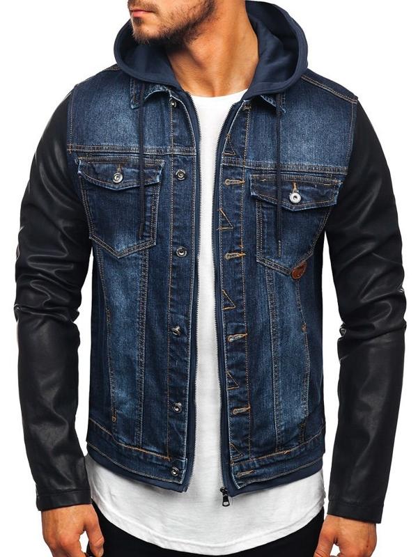 Куртка джинсова чоловіча темно-синя Bolf AK530