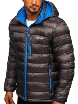 Куртка чоловіча зимова спортивна стьобана графітова Bolf BK145