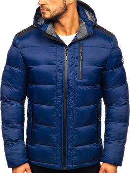 Куртка чоловіча зимова спортивна стьобана темно-синя Bolf AB98