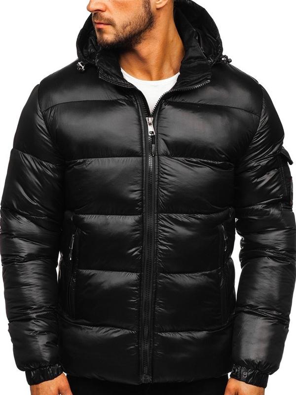 Куртка чоловіча зимова спортивна стьобана чорна Bolf K65