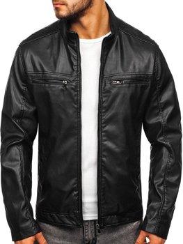 Куртка чоловіча шкіряна чорна Bolf 1131