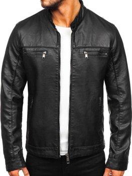 Куртка чоловіча шкіряна biker чорна Bolf 88906