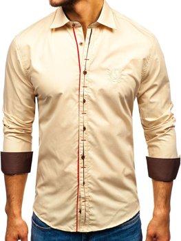 Чоловіча елегантна сорочка з довгим рукавом кемел Bolf 1769