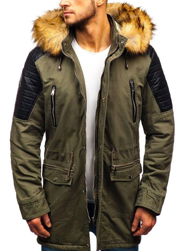 Чоловіча зимова куртка парка хакі Bolf 88830