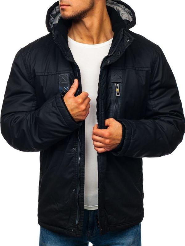 Чоловіча зимова куртка чорна Bolf 1567