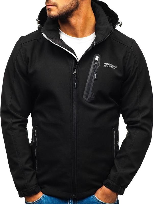 Чоловіча куртка софтшелл чорна Bolf AB95