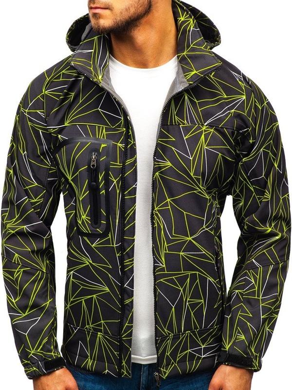 Чоловіча куртка софтшелл чорно-зелена Bolf T019T