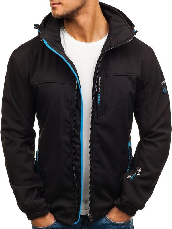 Чоловіча куртка софтшелл чорно-синя Bolf 5532