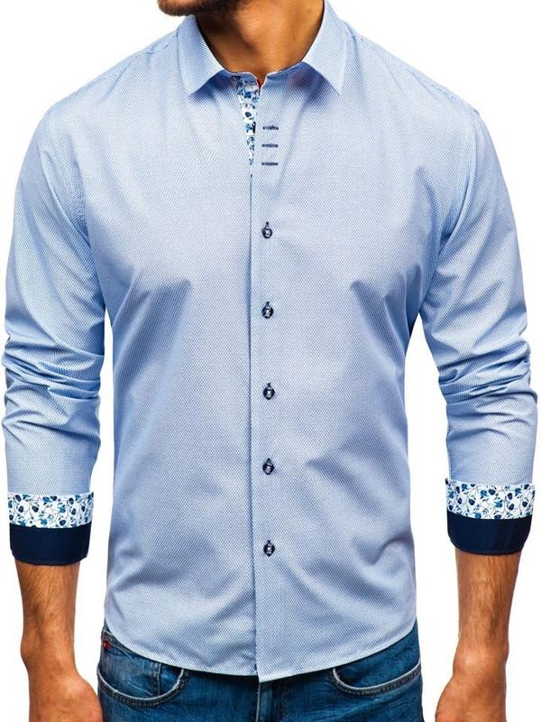Чоловіча сорочка з візерунком з довгим рукавом біло-темно-синя Bolf 9704