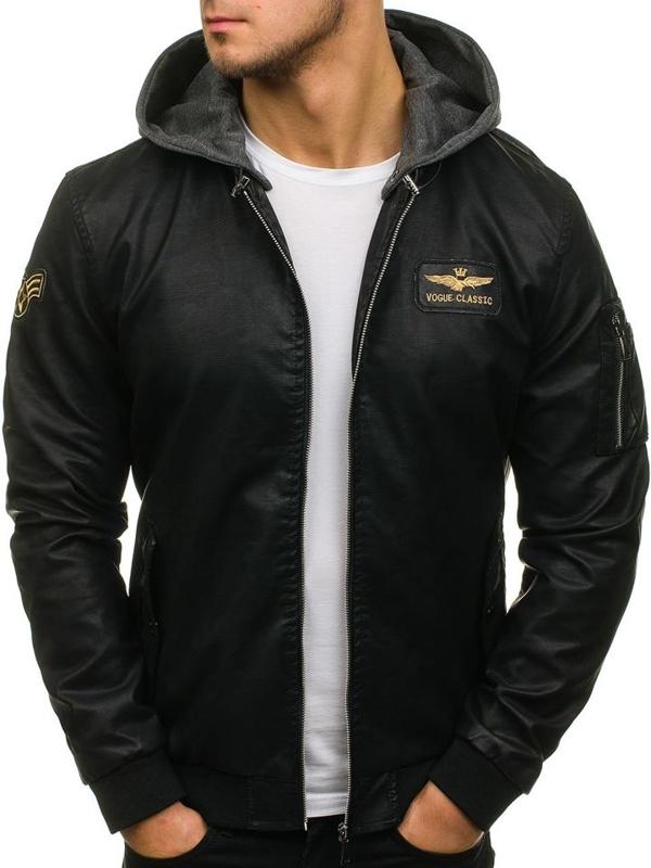 Чоловіча шкіряна куртка бомберка чорна Bolf 5161