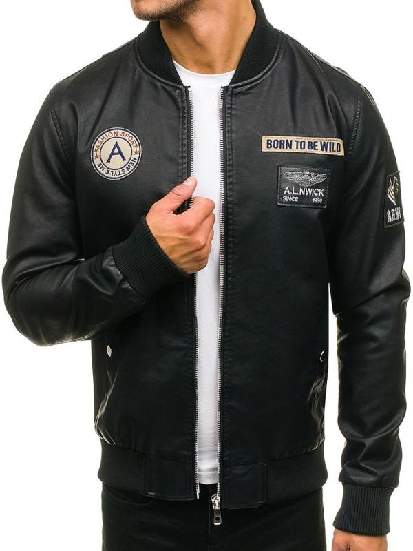 Чоловіча шкіряна куртка бомберка чорна Bolf 72166