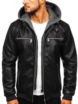 Чоловіча шкіряна куртка з капюшоном чорна Bolf 1105