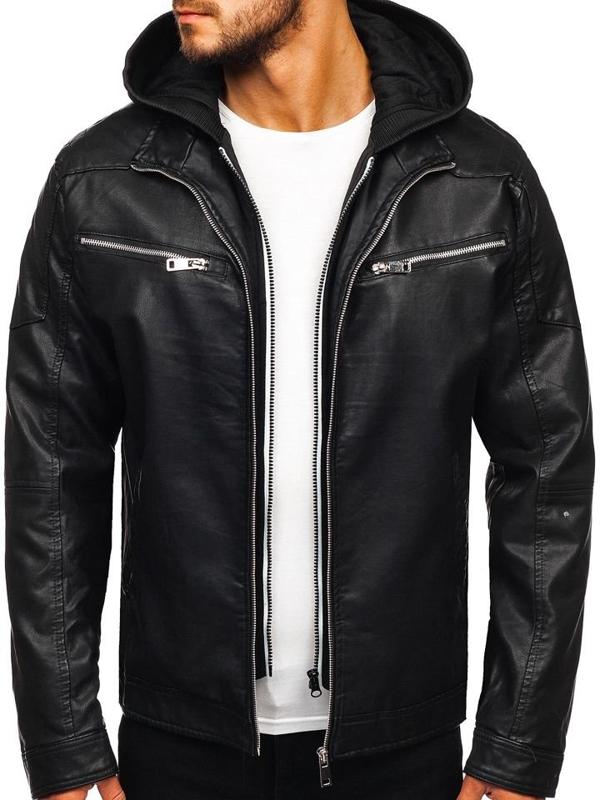 Чоловіча шкіряна куртка з капюшоном чорна Bolf 5809