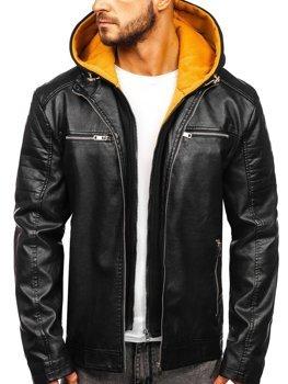 Чоловіча шкіряна куртка з капюшоном чорно-жовта Bolf 6131