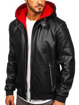 Чоловіча шкіряна куртка з капюшоном чорно-червона Bolf 6132